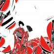 Stock Photo: Japanese woman. Graphic art background.
