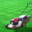 Lawn mower on green grass backyard — Zdjęcie stockowe