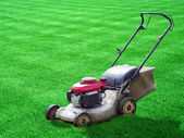Lawn mower on green grass backyard — Stok fotoğraf