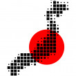 Map and flag of Japan — Stock Photo