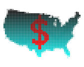 Map of U.S. and dollar sign — Stock Photo
