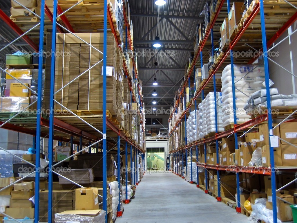 Warehouse with shelves of stock.  — Stock Photo #1301799