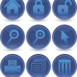 Blue web icons set — Stock Vector