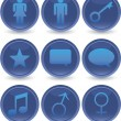 Blue web icons set — Stock Vector #1359865