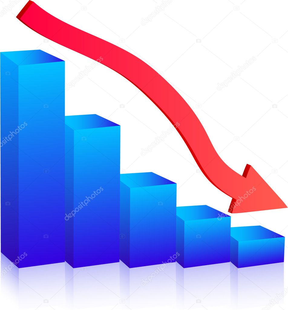 Business Failure graph down arrow — Stock Vector #1359758