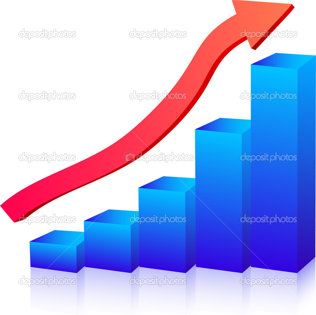 Business growth graph up arrow — Imagen vectorial #1359766
