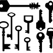 Keys silhouettes — Stock Vector