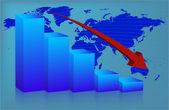 Chart World down — Stock Vector