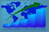Chart World up — Stock Vector