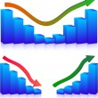 Business Failure and growth graphs — Stock Vector