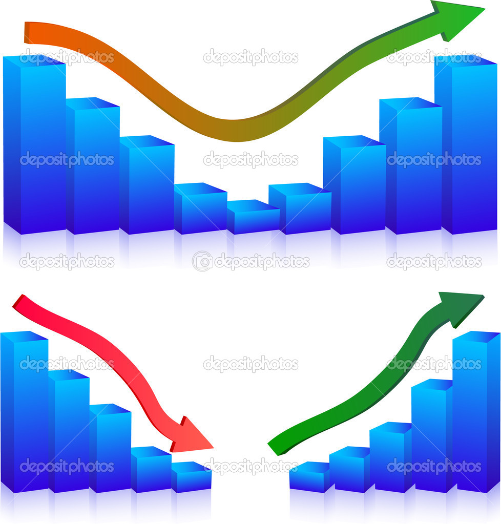 Business Failure and growth graph and arrows — Stock Vector #1413344