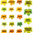 Autumn leaves price tags — Stock Vector