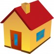 Yellow house with red roof — Stock Vector