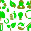 Eco icon set green — Stock Vector
