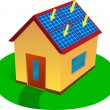 Stock Vector: Solar energy house