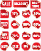 Set of red discount price labels — Stock Vector