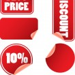 Set of red discount price labels - Stock Vector