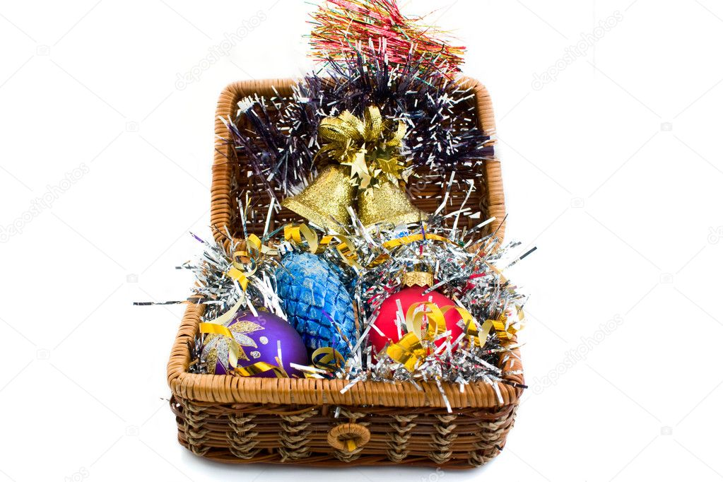New Year's toys for a fur-tree in a chest — Stock Photo #1157669