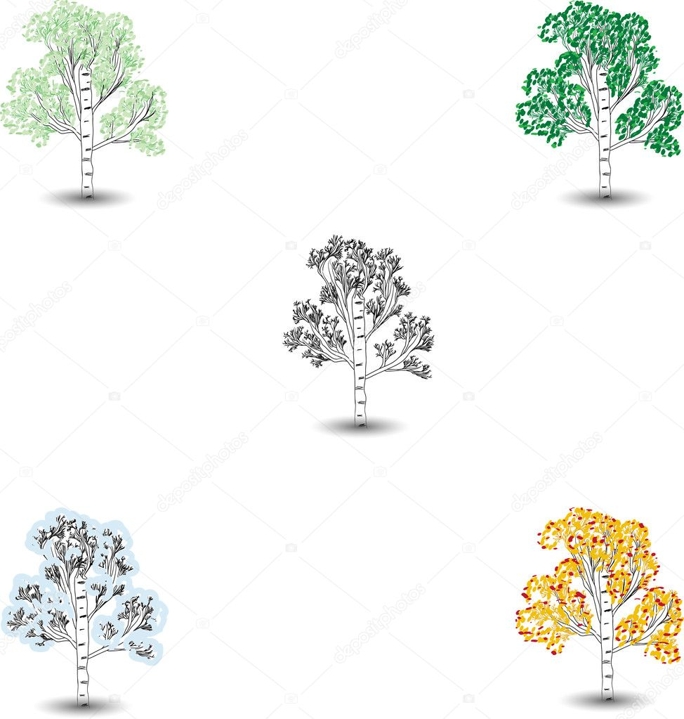 Set of images of trees in different times of year  Stock Vector #1157670