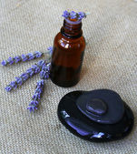 Lavender flowers and bottle of essential — Stock Photo