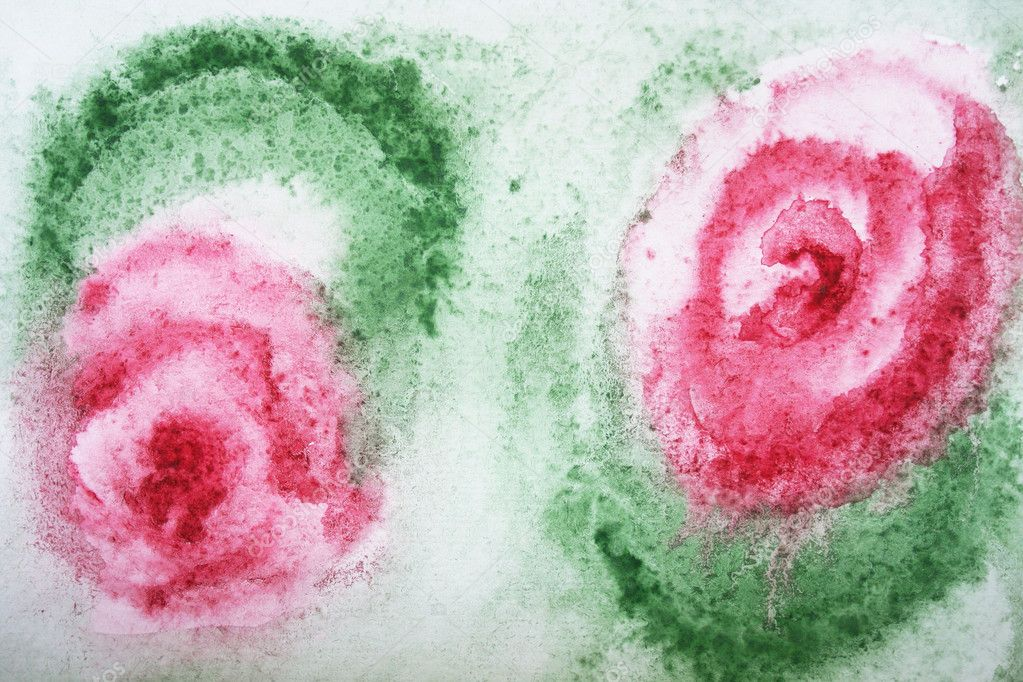 Abstract Watercolor Rose Abstract Watercolor Red