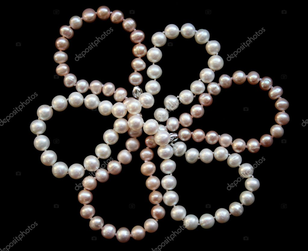 Flower of white and pink pearls on a black silk as background  — Stock Photo #1871483