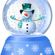 Snowman in Snow Globe — Stock Vector