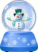 Snowman in Snow Globe — Stock Vector