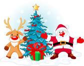 Santa Claus and Rudolph — Stock Vector