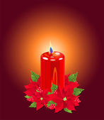 Christmas Candle with Poinsettias — Stok Vektör