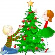 Children decorate a Christmas Tree — Stockvektor