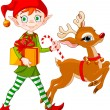 Christmas elf and Rudolph - Stock Vector