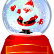 Santa in Snow Globe — Stock Vector