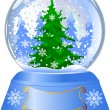 Snow globe with a Christmas tree — Imagen vectorial