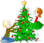 Children decorate a Christmas Tree — Stock Vector