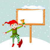 Christmas Elf & billboard — Stock Vector