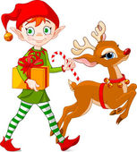 Christmas elf and Rudolph — Stock Vector