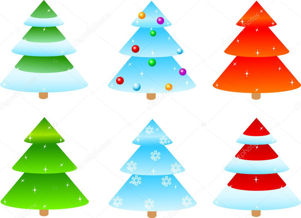 Vector illustrated of different designs of  Christmas trees  — Stock Vector #1138193