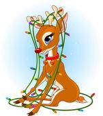 Rudolph Christmas lights — Stock Vector