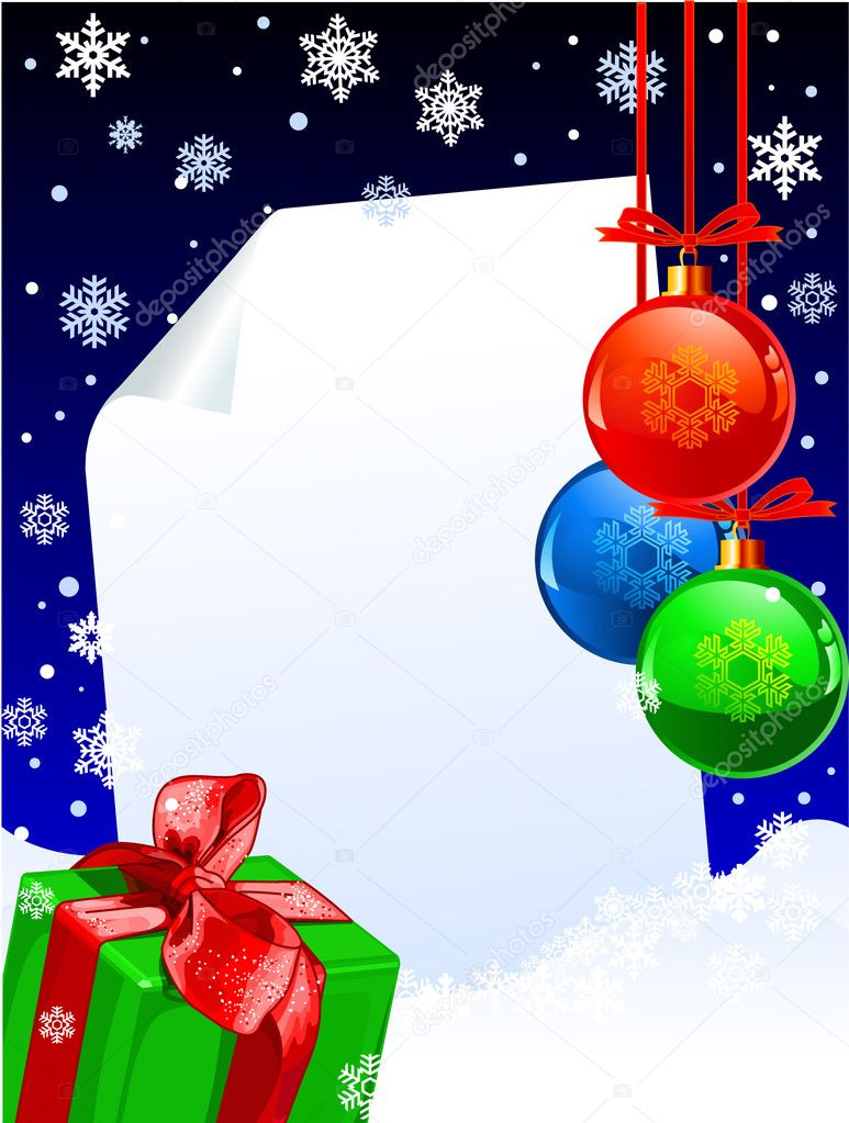 Christmas winter decoration with copy space, balls and present  — Stock Vector #1147281