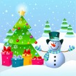 Snowman and Christmas tree — Stock vektor
