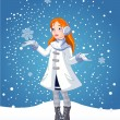 Royalty-Free Stock Vector Image: Snow_girl_bg