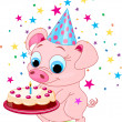 Birthday pig — Stock Vector