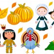 Royalty-Free Stock Vektorfiler: Thanksgiving icon set