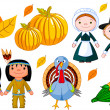 Stockvektor : Thanksgiving icon set