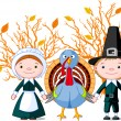 Pilgrims and turkey — Stock Vector