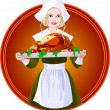 Woman holding a roasted turkey on a plat — Stockvectorbeeld