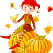 Stock Vector: Pumpkin elf