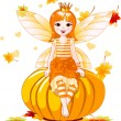 Stock Vector: Thanksgiving fairy