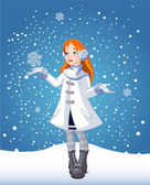 Snow_girl_bg — Stock Vector